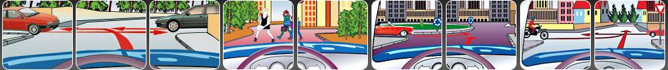 Liste de questions pour l'examen de conduite théorique informatisé concernant la sécurité - y compris le comportement adéquate et sur la route - pour tous les niveaux de permis de conduire